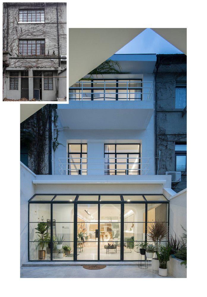 exterior three-story house