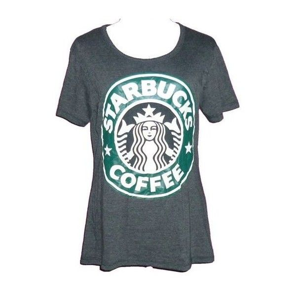 Starbucks shirt size S L XL cute clothes crew neck tee fashion apparel... ❤ liked on Polyvore featuring tops, t-shirts, crew t shirts, dark gray shirt, crew neck tee, dark grey t shirt and crew neck shirt