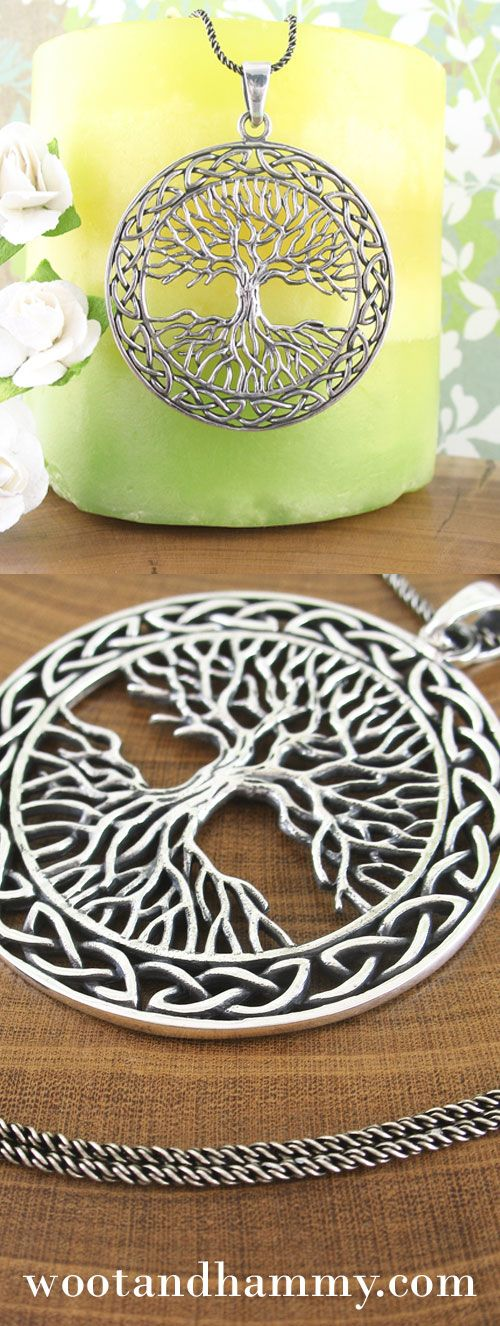 Like the arboreal beauty it portrays, this pendant is impressively large.  The emphasis on the bare branches and exposed roots - and the equal balance between the two - helps to give it more of a wiccan or druid character, which is further strengthened by a border of celtic knots.  The slightly primitive treatment and the blackened antique add a beautiful finish to this gorgeous pendant. Large Celtic Tree of Life Necklace in Sterling Silver.