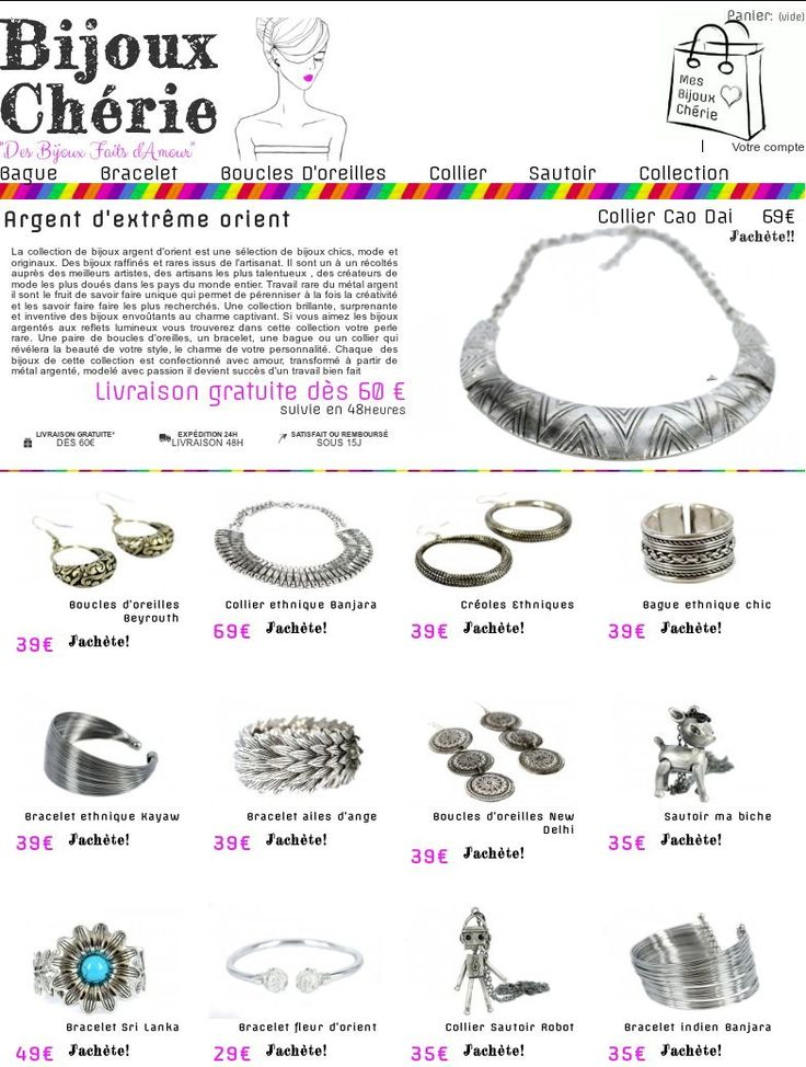 """Les collection des bijoux argent """"Argent d'extreme Orient"""" By chérie de Bijoux Chérie"""
