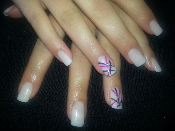 White nail art. Done by Designer Nails George