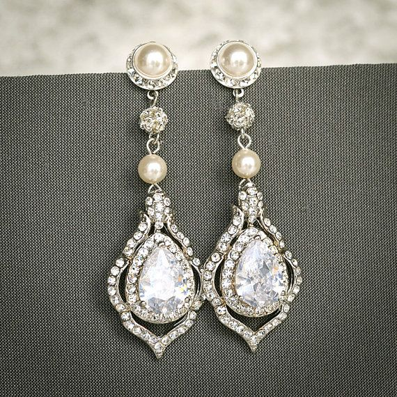 TORILYN, Wedding Earrings, Bridal Earrings, Vintage Style Pearl and Crystal Rhinestone Dangle Earrings, Teardrop Earrings, Bridal Jewelry