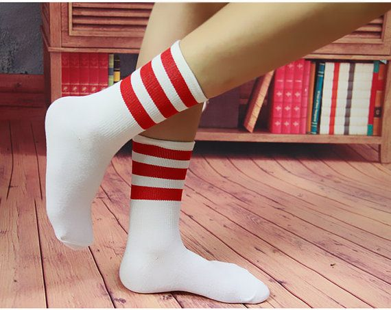 Red Striped Socks Women's Striped Crossing Sports by IDOStudio