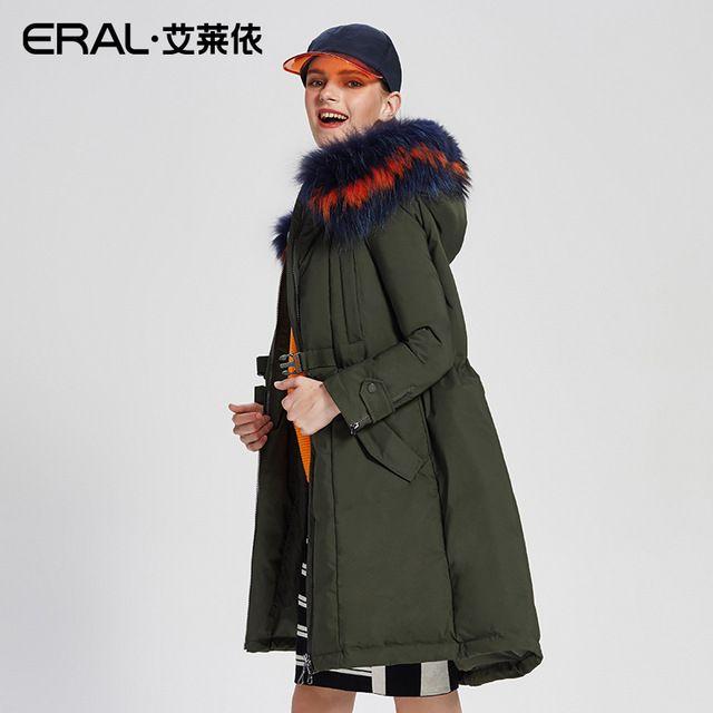 Eral 2017新しい到着の女性の冬コートスリムアライグマの毛皮の襟黒付きアジャスタブルウエスト厚いダウンジャケットERAL16258-FDAB