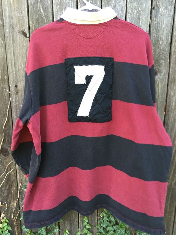 Vintage Polo Sport Ralph Lauren Blue Red Stripe LS Polo Rugby Shirt XL EUC #PoloSportRalphLauren #PoloRugby
