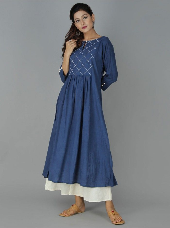 Navy Blue Cotton Kurta