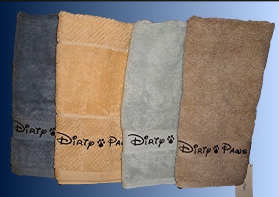 DIRTY PAWS TOWEL for your Furry Friends - Custom Embroidery - One Towel - Many Colors Available