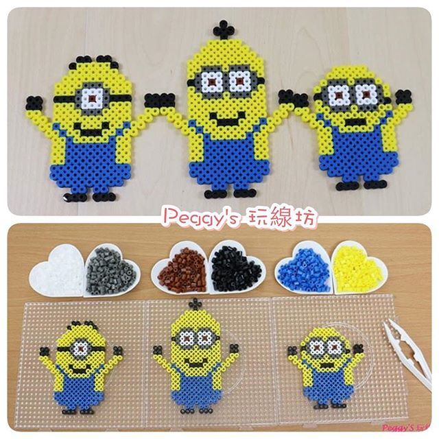 Minions (Stuart, Kevin and Bob) perler beads by peggyknitting