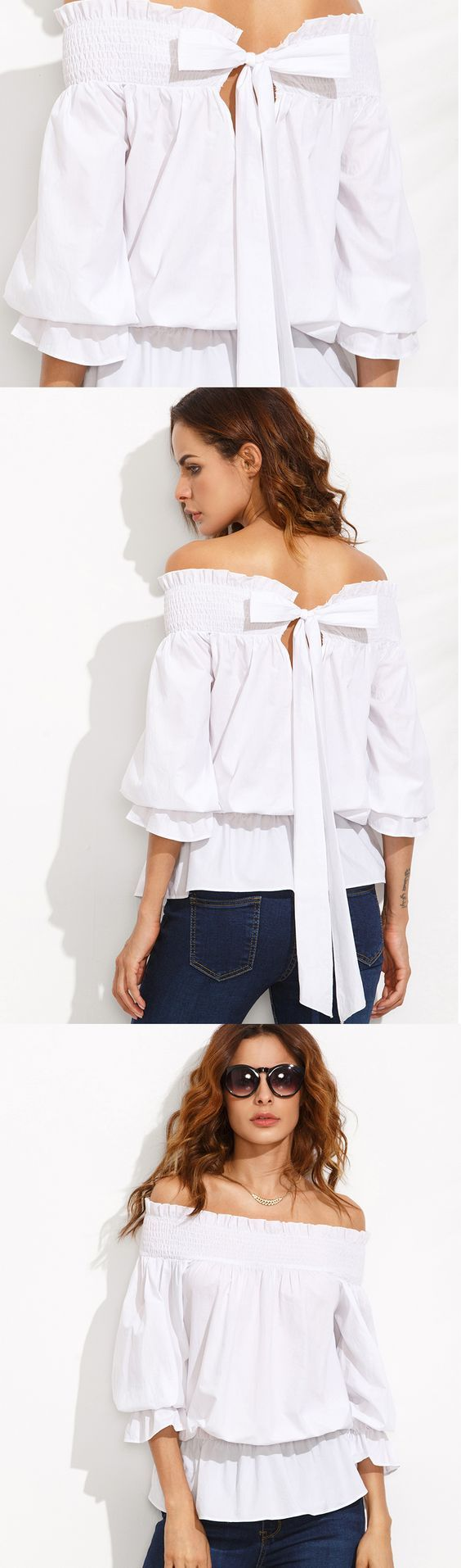 If you want to untie my bow... #White #OffTheShoulder #Bow #Tie #Back #Blouse: