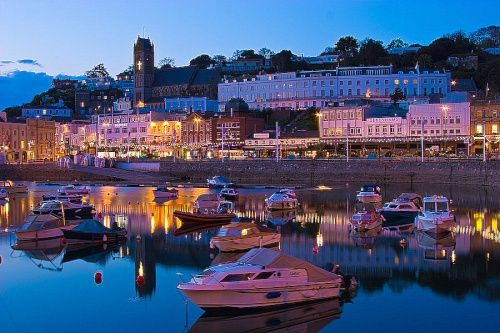 Twilight on the Inner Harbour and Strand, Torquay, South Devon