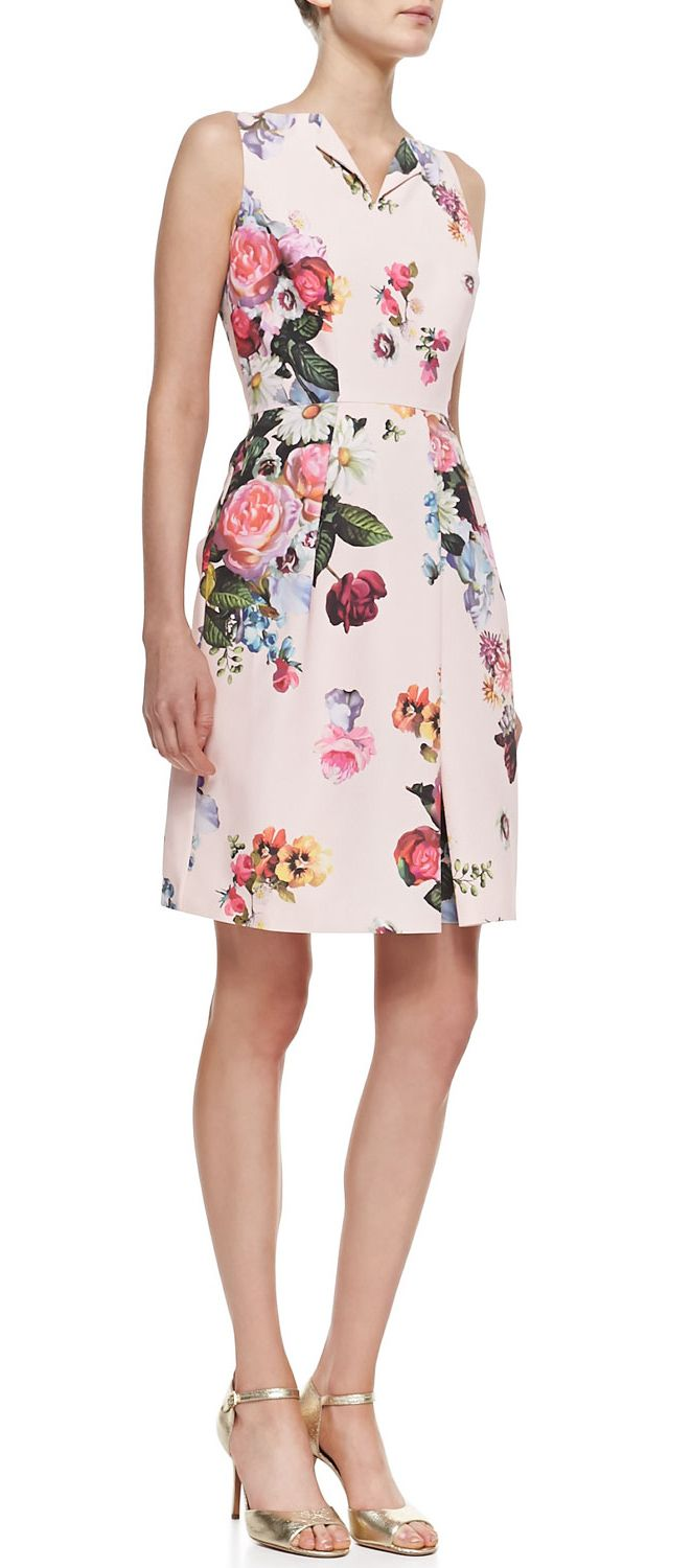Ted Baker floral print sheath dress in nude pink.