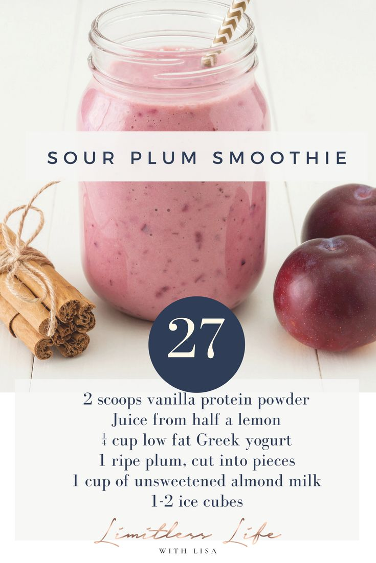 This Sour Plum Smoothie recipe can help to lose weight.  It's #27 of the 35 Smoothie Recipes for Weight Loss Healthy.  Be sure to check out all 35 smoothie recipes!   #flatbelly #smoothierecipes #toloseweight #cleaneating #proteinshakes