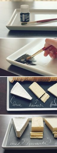 Chalkboard paint on a porcelain platter...genius!: Idea, Chee Platters, Chalkboards Paintings, Chalk Boards, Chee Plates, Cheese Platters, Cheese Boards, Cheese Plates, Serving Platters