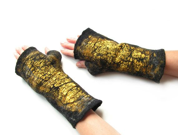Felted mittens nuno felted mittens black yellow grey wool arm