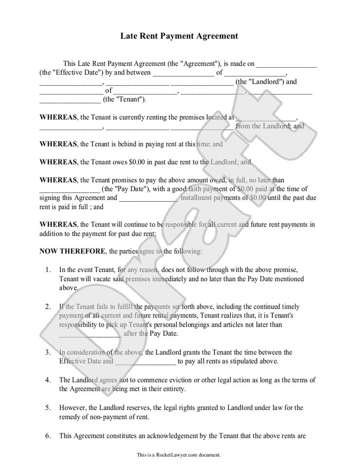 Late Rent Payment Agreement Form (with Sample) - Delinquent \ Past - rent to own contract sample