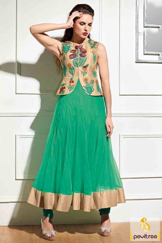 Be stunning with nice looking medium sea green and beige anarkali salwar suit…