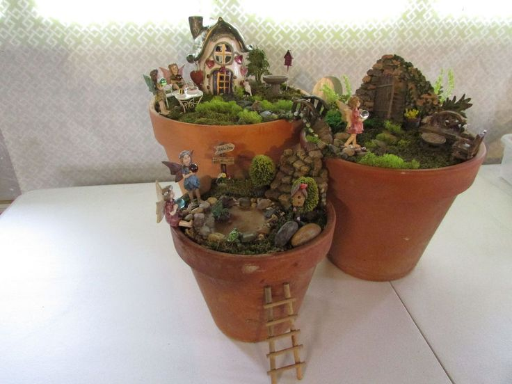 Three tier fairy garden gardens potting soil and clay for Clay potting soil