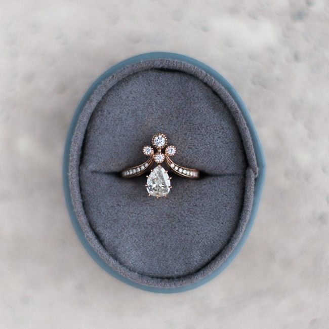 Vintage-Inspired Rose Gold Victorian Era Engagement Ring | Rose Gold Tiara from Trumpet & Horn