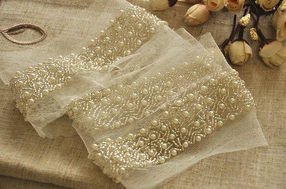 Finiture per nuziale sash, cintura di matrimonio, di strass perline pizzo