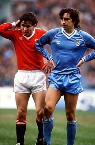 Kevin Reeves Manchester City & Arthur Albiston 1983