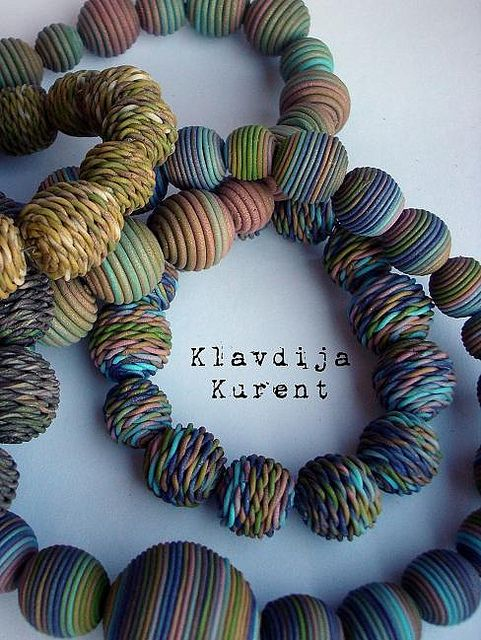 Beads created with an extruder, by Klavdija's corner, polymer clay.