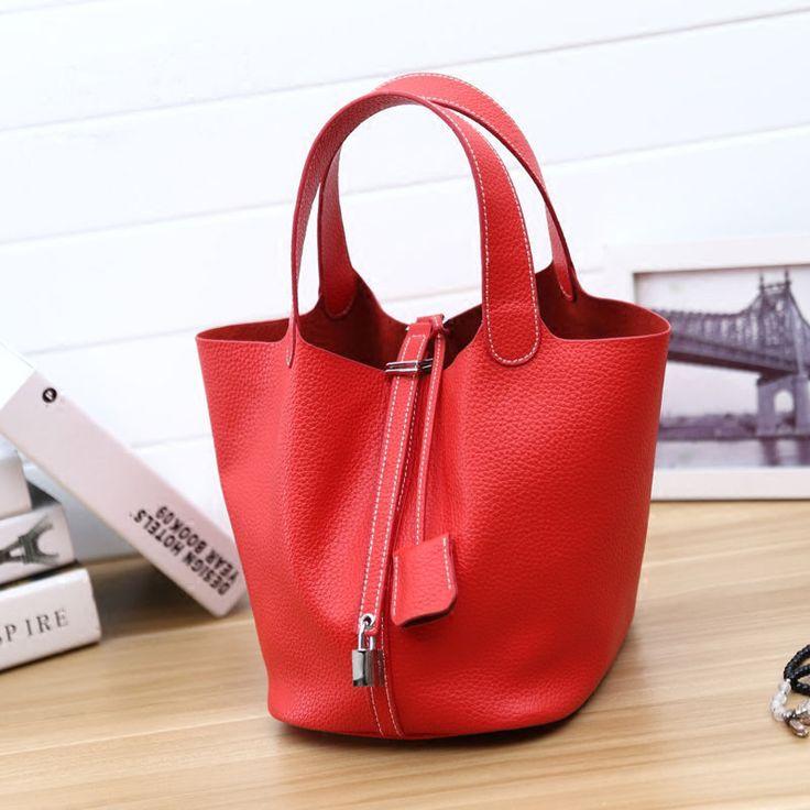 2016 Fashion Women Basket Bag Lichee Pattern Genuine Leather Bucket Handbag