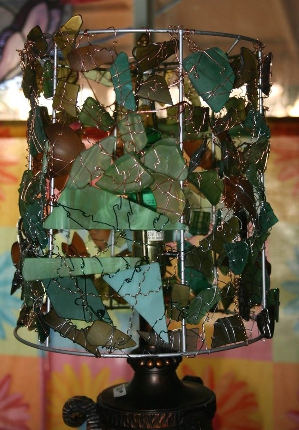 54 best lamp shade frames the many uses images on pinterest glass wire lampshade could do this with beach glass greentooth Choice Image