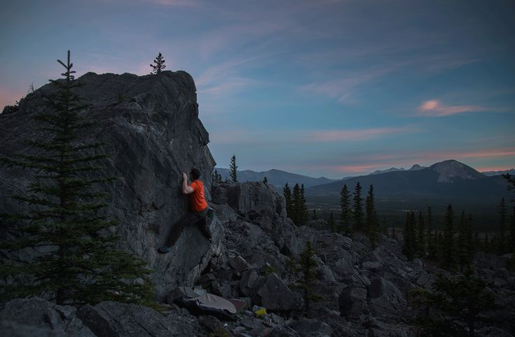 Climbing | Philip Quade: Sunset bouldering at Big Choss, at the base of Mount Yamnuska, in Kananaskis Country, Alberta.
