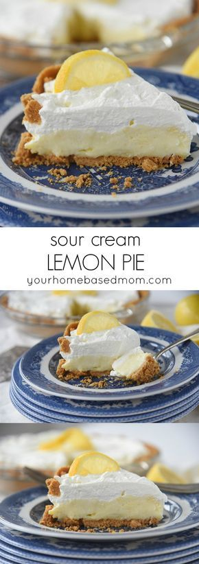 Sour Cream Lemon Pie Recipe , a little piece of heaven on a plate!  The perfect dessert for Spring parties, Mother's Day and Easter Brunch too!