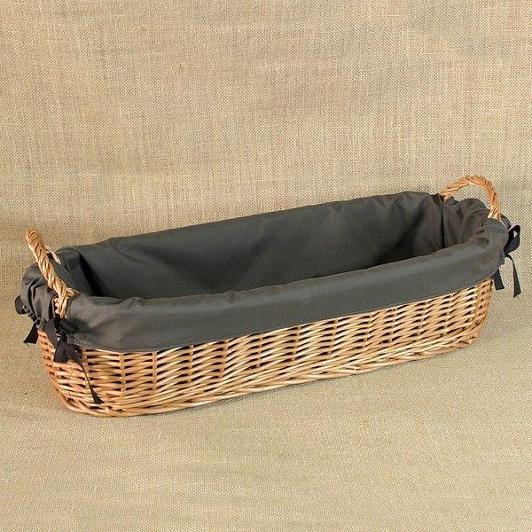 Koszyk z uszkami obszyty materiałem w kol. ciemne khaki
