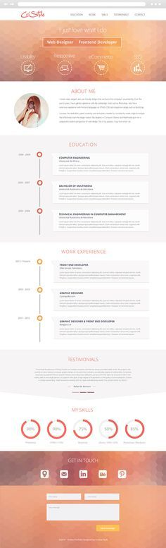 "Beautiful resume design by Cristina Stela, via Behance.   Get one just like it at <a href=""http://www.paulruocco.com"" rel=""nofollow"" target=""_blank"">www.paulruocco.com</a>"