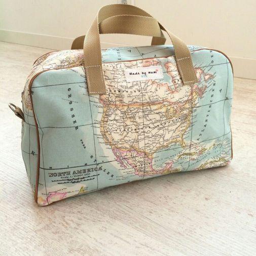 Bolso bandolera de loneta mapa mundi azu - Chicfy