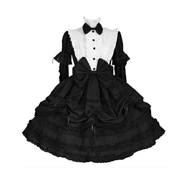 Partiss Womens Black and White Long Detachable Sleeves Bow Gothic... ($106) ❤ liked on Polyvore featuring dresses, black and white dress, long gothic dress, white and black dress, long length dresses and goth dress