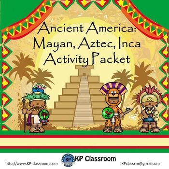 """This """" Ancient America : Mayan, Aztec, Inca Literacy and Math Activity Packet """" has 50 pages  - no prep required - so the packet is great as printable worksheets for an ancient history unit or extra work or sub plans or to enhance a literacy or math unit.These activities are made for different levels of kids between Grades 2 and 5."""