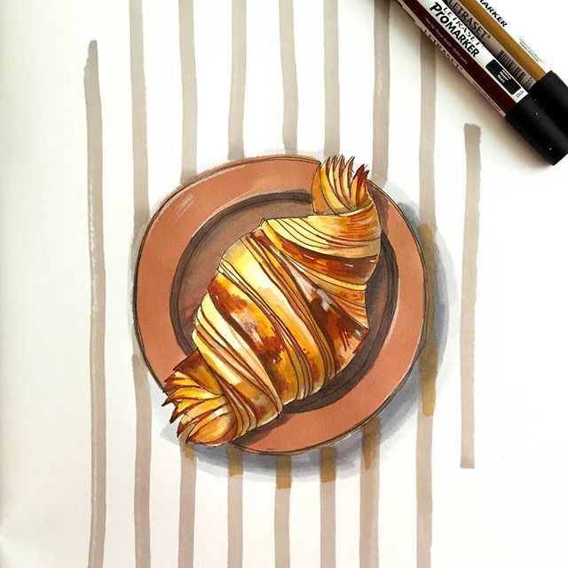 Croissant sketch created with markers #croissant