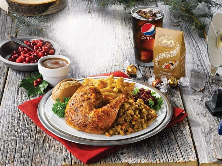 Swiss Chalet - The Festive Special Our famous quarter chicken served with stuffing, cranberry sauce, your choice of side and 5 Lindor chocolate truffles. All for only $12.49 (white meat add $1.50)