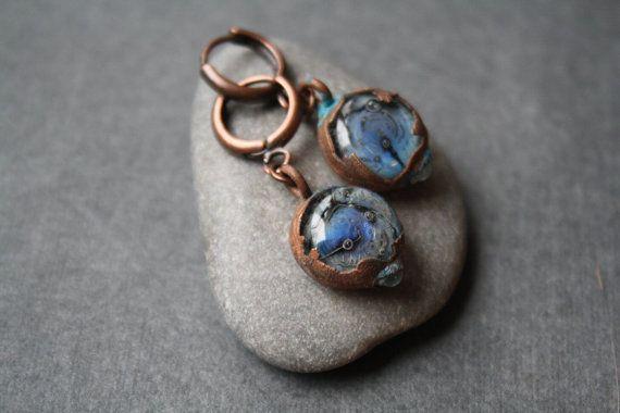 DragonGlass blue cosmic earrings от LikeAGlassShop на Etsy