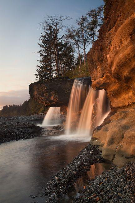 Sandcut Beach Falls Jordon River, Vancouver Island, British Columbia, Canada.