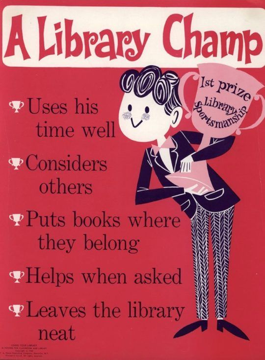 Vintage library posters - A Library Champ