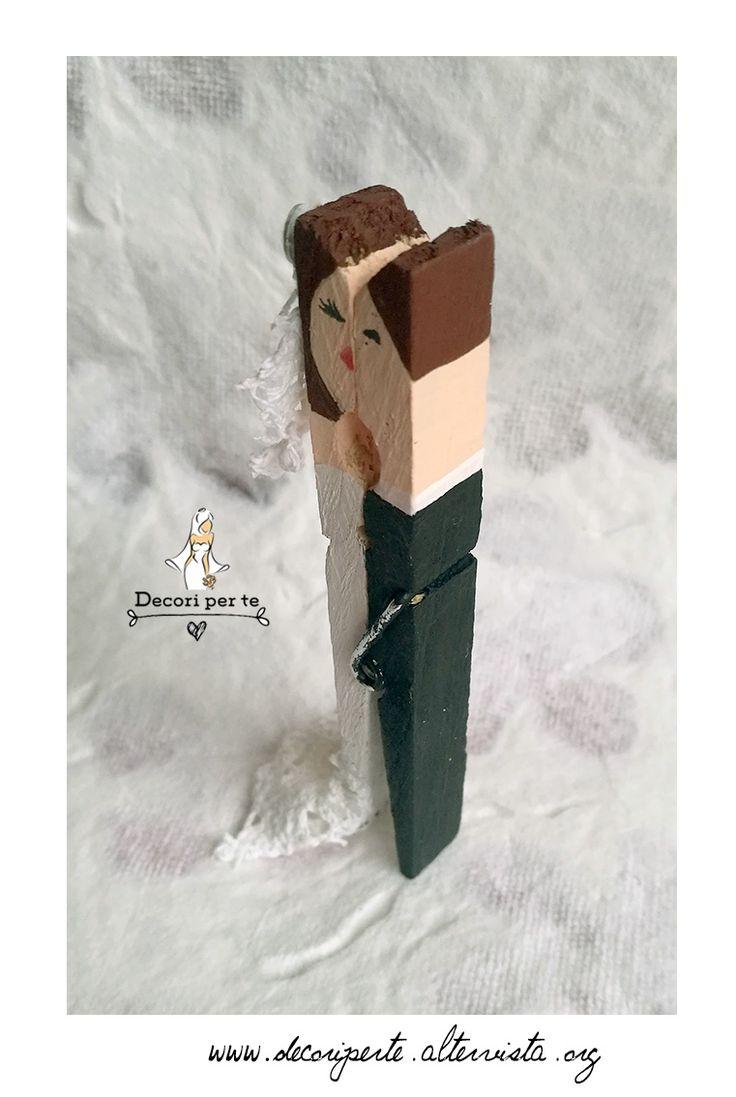 clothespin bride and groom mollettine in legno sposi