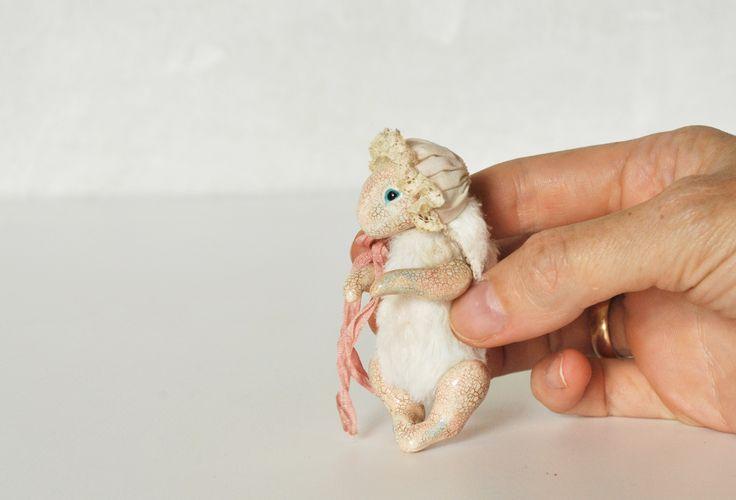 Bunny, 8 cm, mixed media, full jointed.