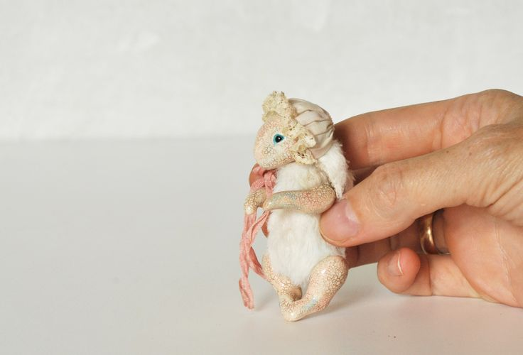 Bunny, 8 cm, mixed media, full jointed.