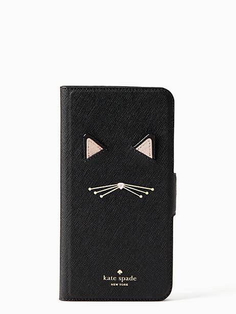 wholesale dealer 21372 c4c8f Kate Spade Cat Applique Iphone 7 & 8 Plus Folio Case, Black ...