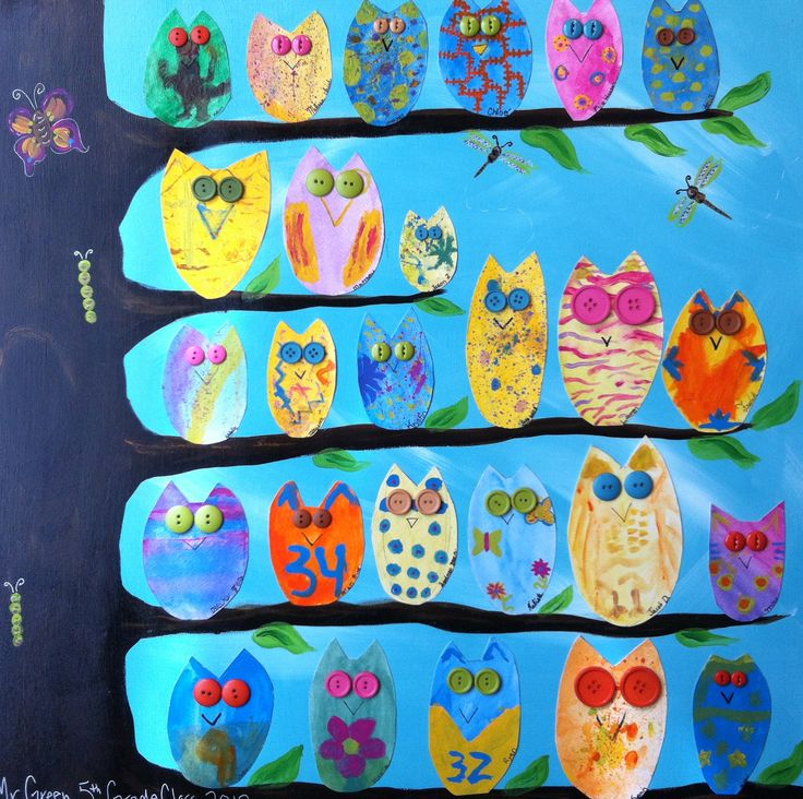 MURAL IDEA - owls on a branch - see other image for close up, perhaps it is a multi materials challenge - using decorative bits and collage.