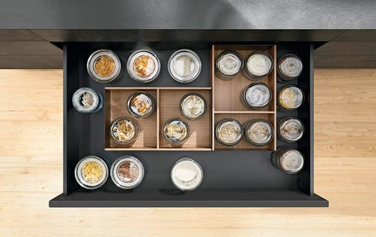 Blum Ambia-line for Legrabox in wood design.  Boxes are nonslip.