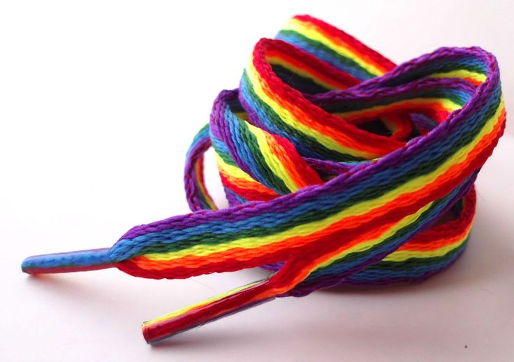 Rainbow Laces Gay Pride Multi Coloured Flat 10mm Shoes Trainers Extra Long New