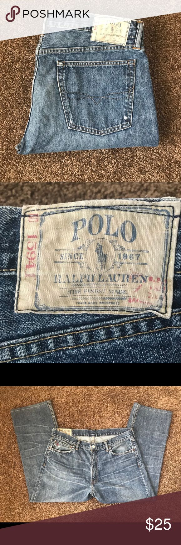 Sale! 🔥Polo Ralph Lauren, Straight Leg, 34X26 1/2 Yep, these are a size 34 waist and the length is 26 1/2. They are 100% cotton. Someone didn't follow the instructions and washed these in warm water and dried them in the dryer! I won't mention any names! He knows who he is! 🤪 Anyway, These were worn maybe once or twice! These are the dark blue wash. Five pockets with button closure. Polo label at the coin pockets. Polo by Ralph Lauren Jeans Straight