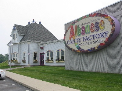 Valparaiso, Indiana.  Albanese Candy Factory. Best candy factory EVER. It's Willy Wonka in real life... there's even a chocolate waterfall! My personal favorite: the gummy bears (every flavor imaginable) and dark chocolate toffee.