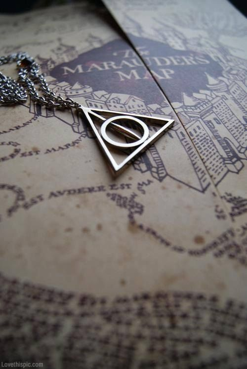 """"""" Triangle necklace jewelry necklace triangle circle"""" obviously whoever you are have never read Harry Potter. Shame on you."""