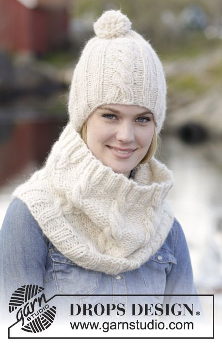 "Warm and comfy! Hat and neck warmer with cables in ""Cloud"". #knitting by #DROPSDesign"